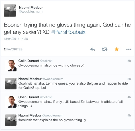 PR during Boonen no gloves
