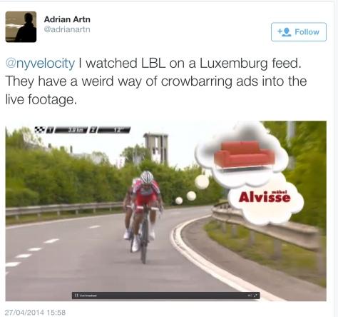 LBL advert in race
