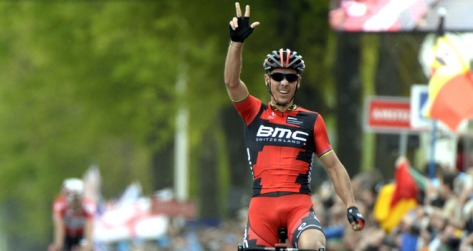 He's back! Gilbert celebrates his third Amstel Gold win (Image: Amstel Gold Race)
