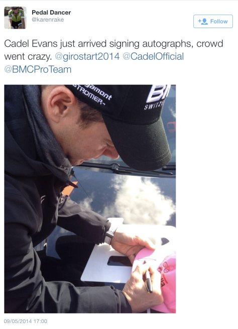 Giro opening Cadel autograph
