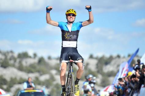 Taaramae celebrates victory in the queen stage, his first win in an international race since the 2011 Vuelta (Image: Tour of Turkey)