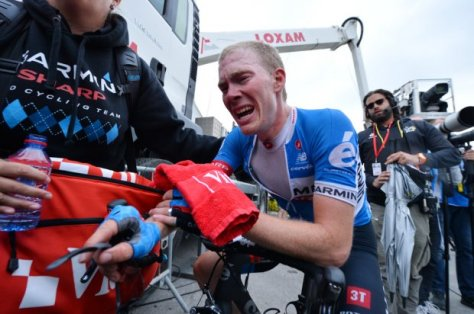 Talansky shows the agony before the ecstasy at the end of a gruelling final stage (Image: B Papon)