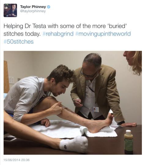 G Taylor rehab 3 stitches