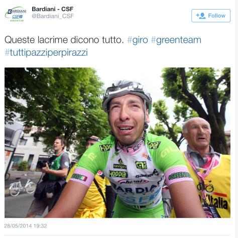 Giro Pirazzi crying