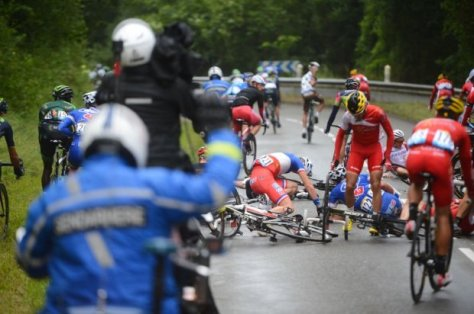 Arnaud Demare goes down in one of the many crashes today.