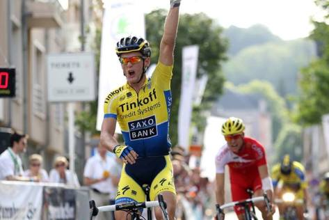 Breschel put his bad luck behind him with a storming win in Luxembourg (Image: Tinkoff-Saxo)