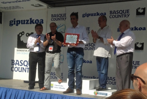 Miguel Indurain receives the Anniversary Award (Image: Sheree Whatel)y