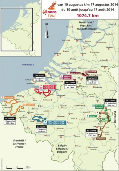 Route for the 2014 edition of the Eneco Tour