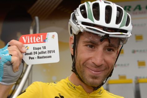 Nibali marks victory on Hautacam - the first yellow jersey winner to claim four road stages since Eddy Merckx in 1974 (Image: ASO/B Bade)