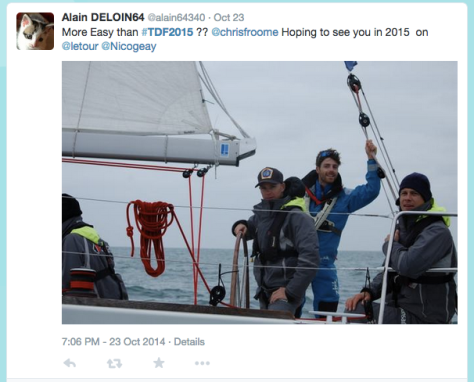 TdF Froome on a boat