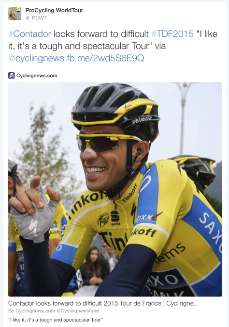 TdF Reaction Contador