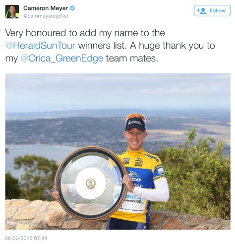 G Herald Sun Tour win