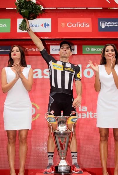 Vuelta 2015 stage 10 Kristian Sbaragli podium J.A. Miguelez Unipublic