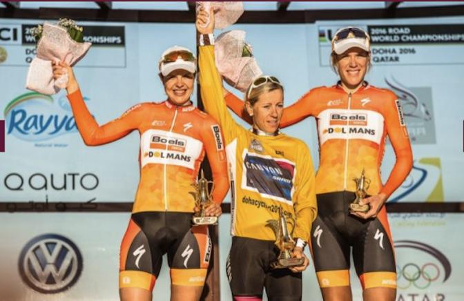 Ladies Tour of Qatar final podium 2016
