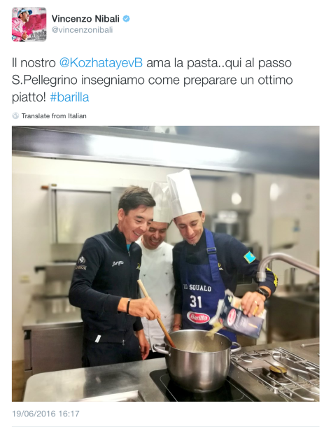Nibali cooking
